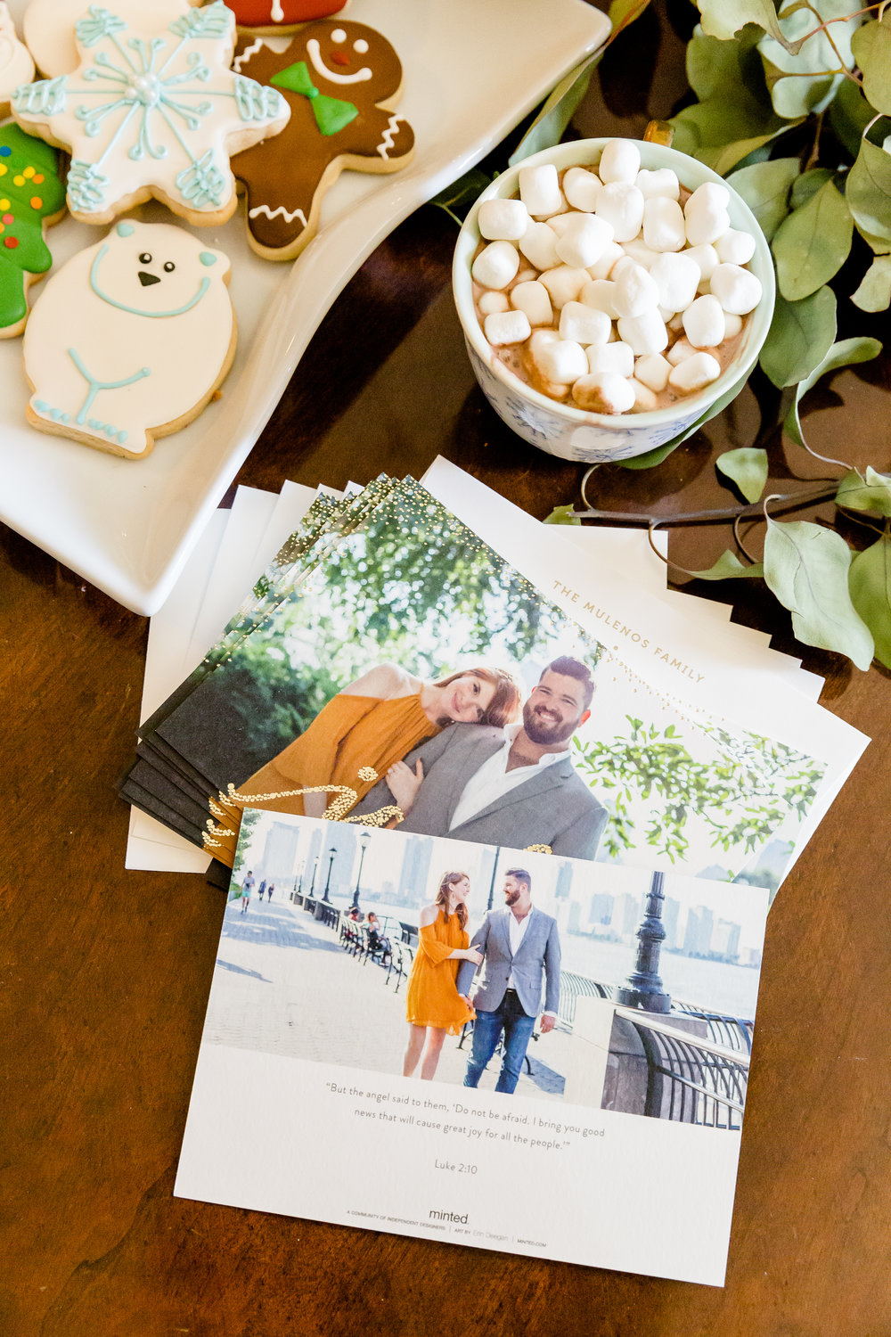 minted christmas cards, where to get christmas cards, where to make christmas cards, madison katlin photography, couples christmas cards, bakery bliss, assorted christmas cookies in dallas