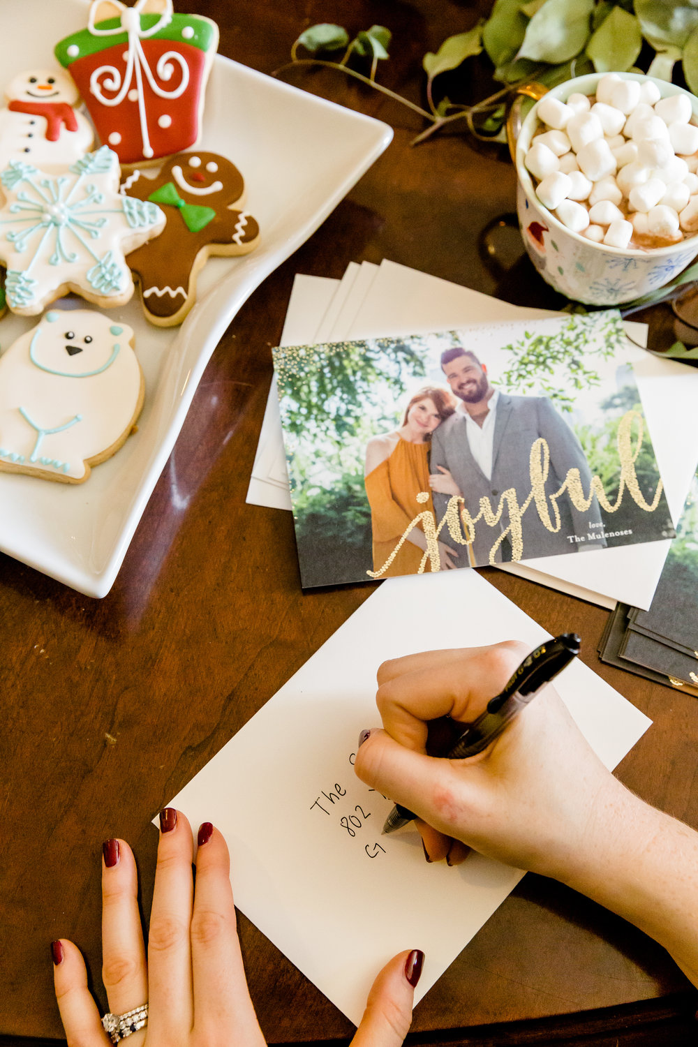 minted christmas cards, where to get christmas cards, where to make christmas cards, madison katlin photography, couples christmas cards, assorted christmas cookies in dallas, bakery bliss