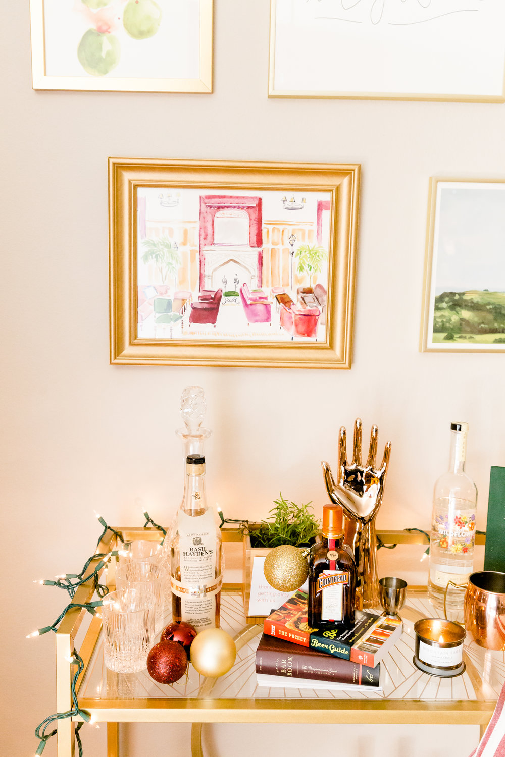 madison katlin photography, christmas bar cart ideas, how to decorate your bar cart, minted