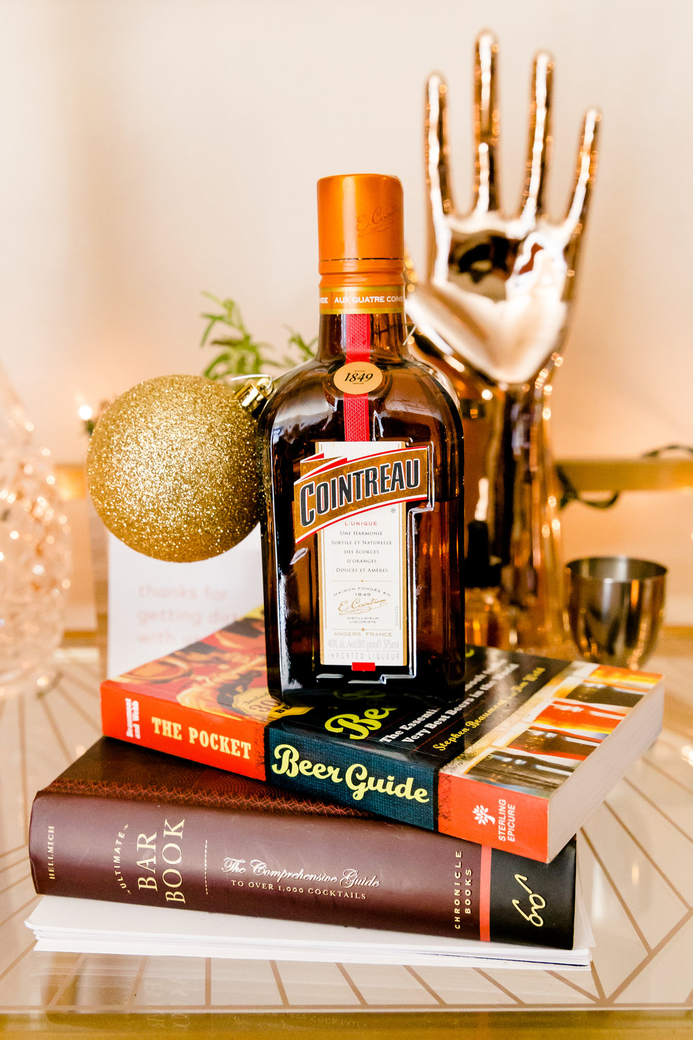 madison katlin photography, christmas bar cart ideas, how to decorate your bar cart, minted, cointreau