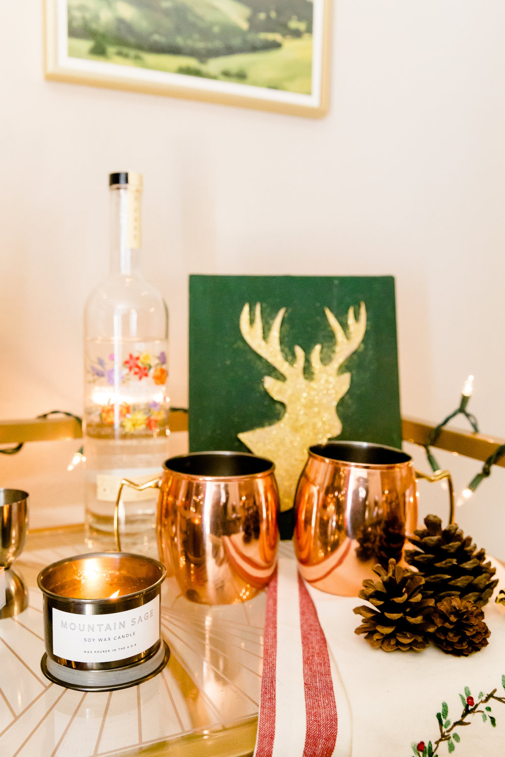 madison katlin photography, madewell candle, christmas bar cart ideas, how to decorate your bar cart, minted