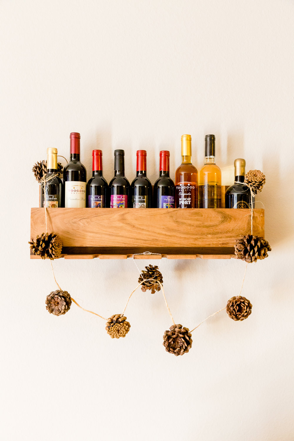 madison katlin photography, pinecone garland, port, toogood, wine