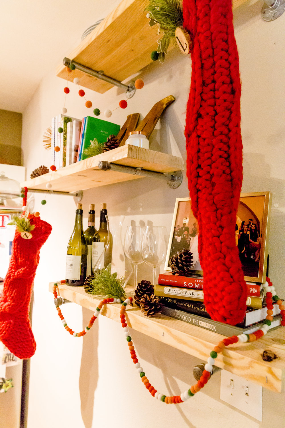 madison katlin photography, minted felt garland, crate and barrel knit stocking, floating shelves, christmas decor ideas, christmas decor for small apartments