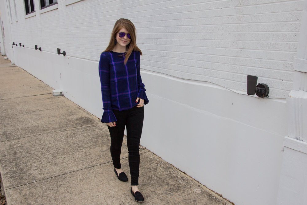 "pantone's 2018 color of the year, ultra violet, sanctuary clothing night crawler blouse, ray-ban flash aviators in violet mirror, madewell 10"" high-rise skinny jeans in carbondale, baublebar mamba drop earrings"