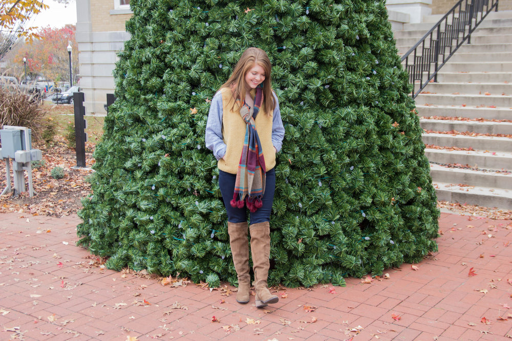 wubby vest, j crew factory, j brand maria jeans, vince camuto karinda over the knee boot, sherpa trend