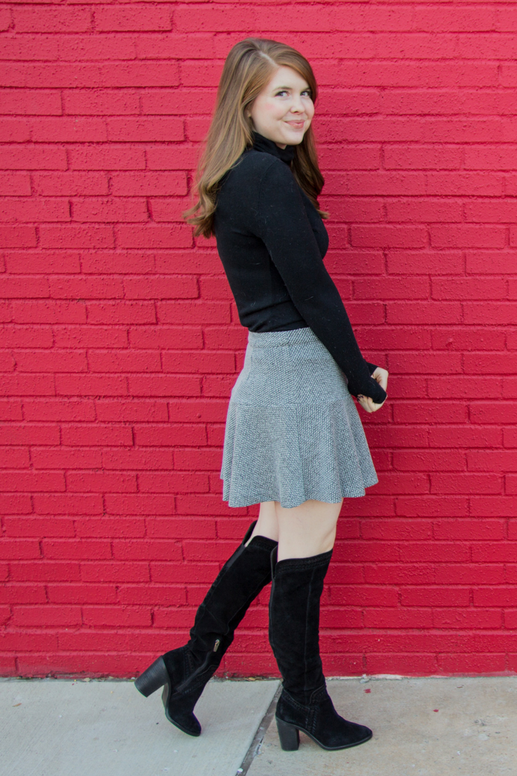 topshop peplum hem skirt, vince camuto madolee suede over the knee boots, madewell whisper turtleneck, baublebar parisian earrings, fenty gloss bomb universal lipgloss, workwear ideas, women in the workplace, disc profile, work outfit inspo