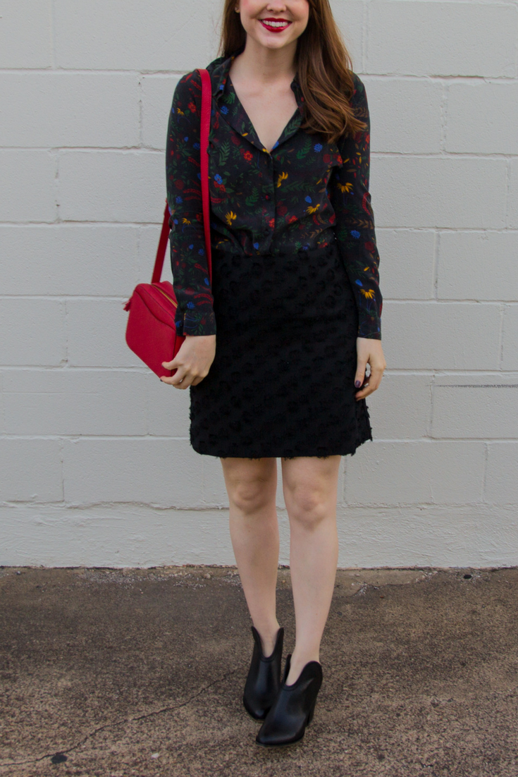 work wear,  what to wear to work, professional attire, loft rosette jacquard shift skirt, chinese laundry kelso booties, baldwin prairie floral silk shirt, cuyana mini tassel bag