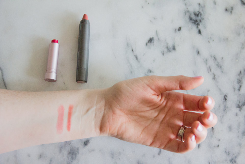 favorite cruelty-free and nontoxic lipstick brands, burt's bees, juice beauty phyto-pigments luminous lip crayon, farmacy lip bloom,  stila stay all day liquid lipstick, fenty by rihanna gloff bomb universsal lip luminzer, e.l.f. lip lacquer,  lawless beauty beauty soft matte liquid lipstick, tarte tartiest lip crayon, nyx round case lipstick,  vegan lipstick