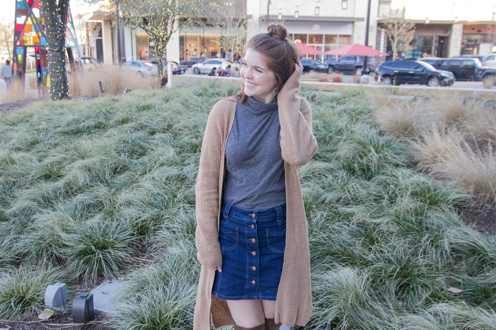 winter to spring transitional outfit, madewell patch pocket denim skirt, madewell whisper turtleneck, madewell cardigan, vince camuto karinda over the knee boot, baublebar nevaeh earrings, fenty gloss bomb universal lipgloss, the shops at clearfork, fort worth, dallas blogger