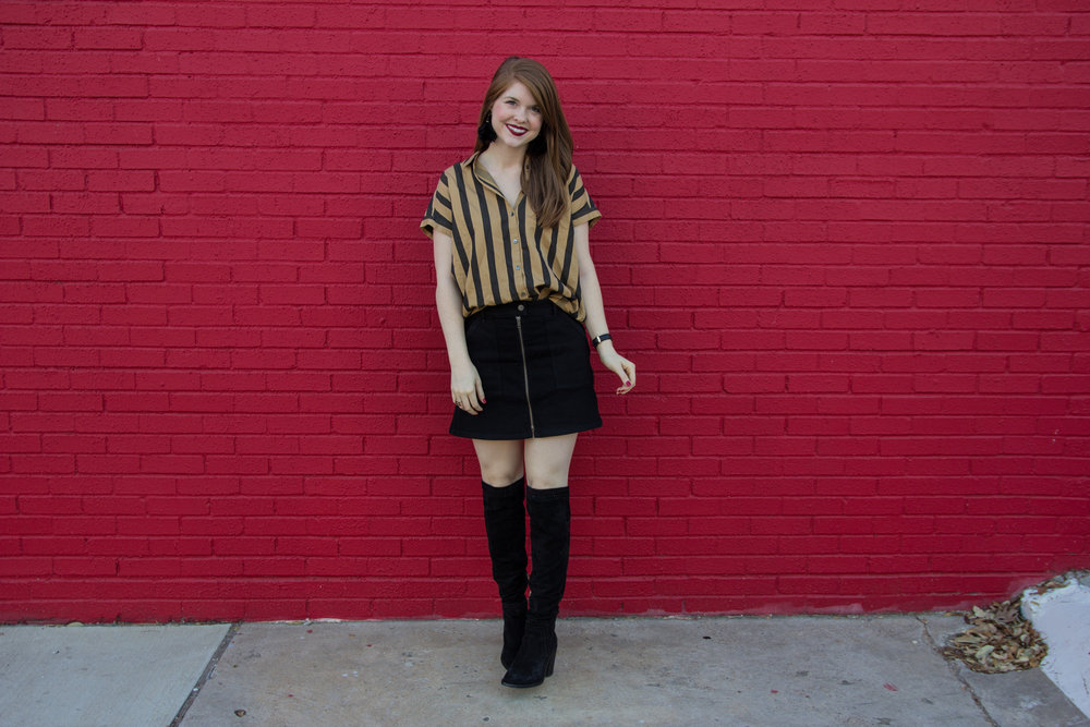 madewell central shirt in edna stripe, madewell utility zip skirt in black frost, baublebar parisian feather earrings, lawless soft matte lipstick in romeo, vince camuto madolee suede over the knee boots, black denim skirt, cruelty free lipstick