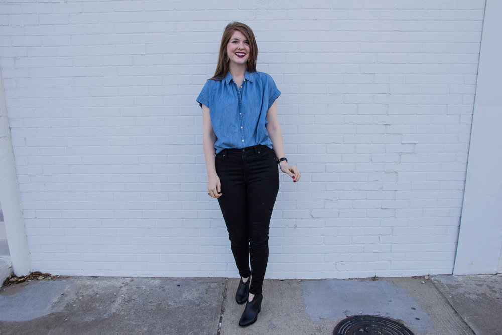"black jeans for work, madewell central shirt in chambray, madewell 10"" high rise jeans, kendra scott diane earrings, chinese laundry kelso booty"