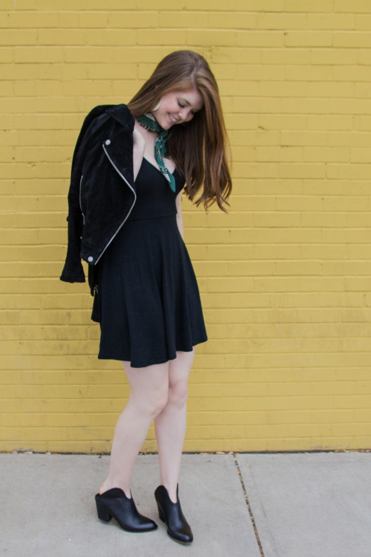 abercrombie strappy knit skater dress, kendra scott diane earings, back to the basics, chinese laundry kelso bootie, blanknyc black suede moto jacket