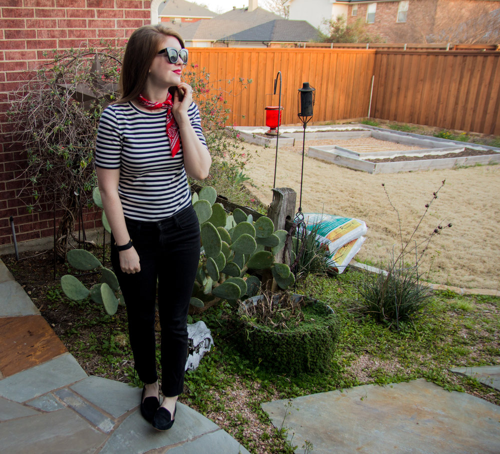 stripes, j crew perfect fit t-shirt, baldwin kick flare jeans, american eagle purrrty sunglasses, madewell silk bandana, nyx lipstick electra, black loafers, now trending: stripes, black, white and red outfit idea