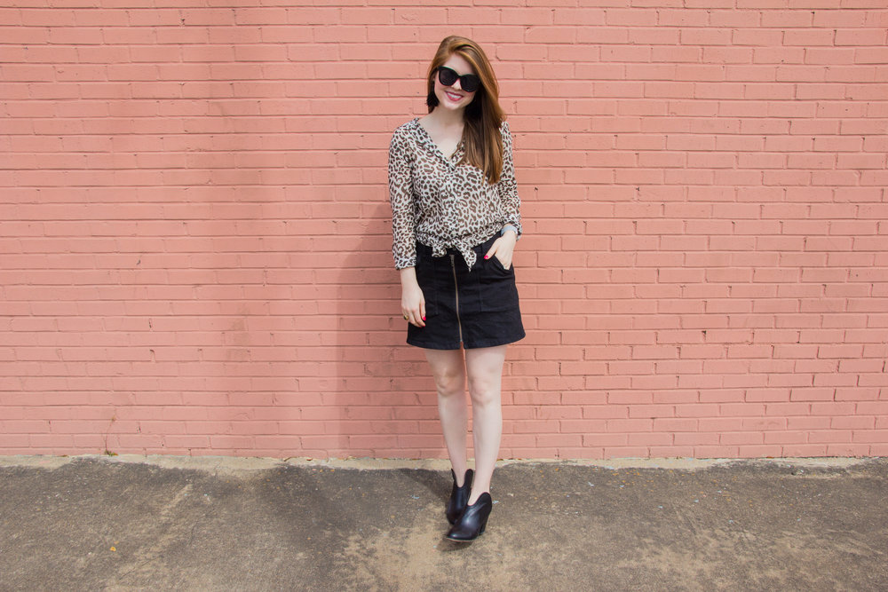 j crew leopard-print beach cover up, lawless creamy matte lipstick brad, chinese laundry kelso bootie, american eagle purrrty sunglasses, kendra scott diane earrings, the art of versatility, leopard dress 3 ways, madewell denim utility zip skirt