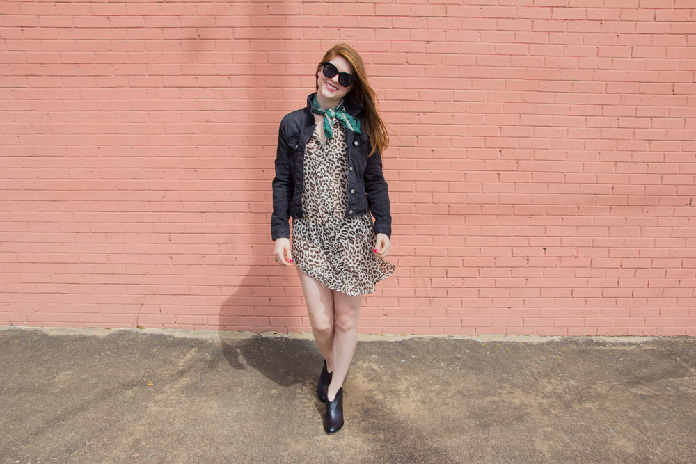 j crew leopard-print beach cover up, lawless creamy matte lipstick brad, chinese laundry kelso bootie, american eagle purrrty sunglasses, kendra scott diane earrings, the art of versatility, leopard dress 3 ways, j crew factory black denim jacket, madewell silk bandana,