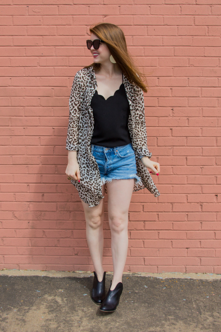 j crew leopard-print beach cover up, lawless creamy matte lipstick brad, chinese laundry kelso bootie, american eagle purrrty sunglasses, j crew factory scalloped cami top, agolde parker vintage cut off short, kendra scott diane earrings, the art of versatility, leopard dress 3 ways
