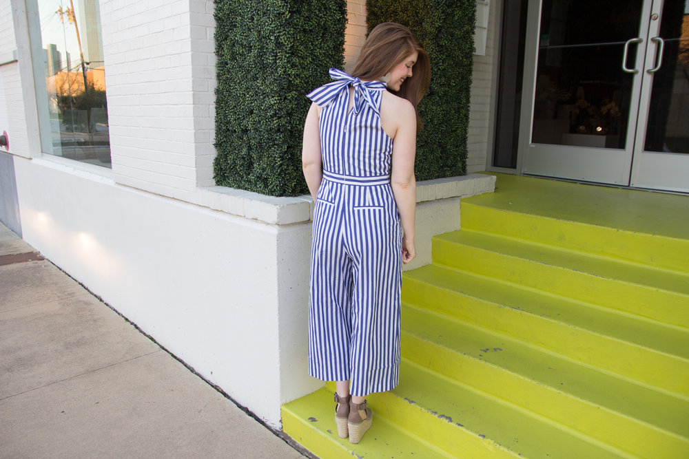 j. crew striped jumpsuit, jumpsuit with bow, kendra scott diane earrings, marc fisher annie wedges, lawless creamy matte lipstick in brad, jumpsuits that actually fit, jumpsuits that don't give camel toe