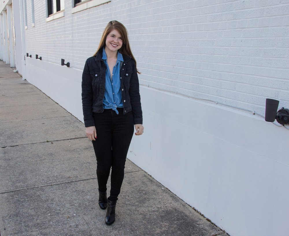 j crew factory, black denim jacket, madewell central shirt, madewell skinny black jeans, black ankle booties