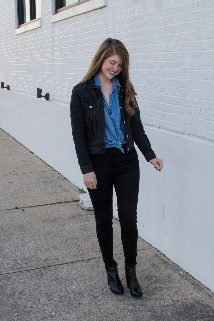 j crew factory, black denim jacket, madewell central shirt, madewell skinny black jeans, black ankle booties, rayban erik sunglasses