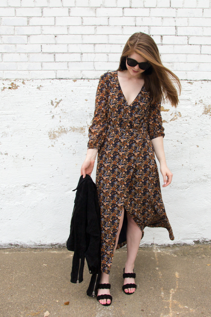 the art of versatility, madewell georgette maxi dress, lawless soft matte lipstick, rebecca minkoff candace block heel sandals, american eagle purrrty sunglasses, baublebar parisian feather earrings, blanknyc suede moto jacket, how to style a floral dress