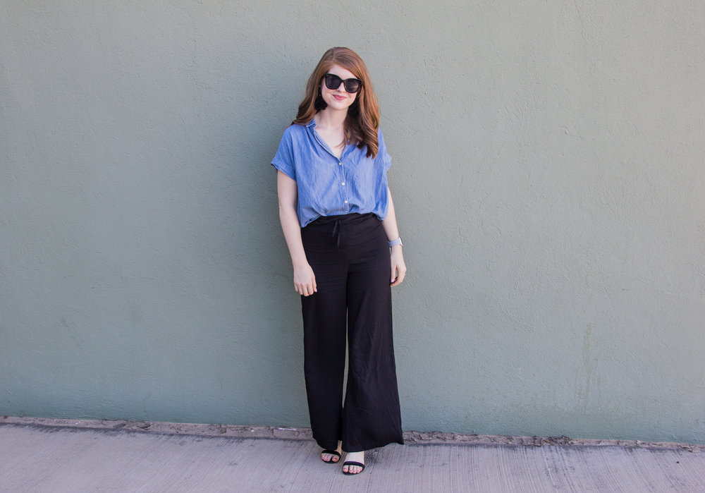 ways to wear wide legged suspender pants, how to style wide legged suspender pants, lucca couture, baublebar feather parisian earrings, american eagle purrrty sunglasses, blank ankle strap sandal, lawless soft matte lipstick in brad, the art of versatility, madewell central shirt in chambray