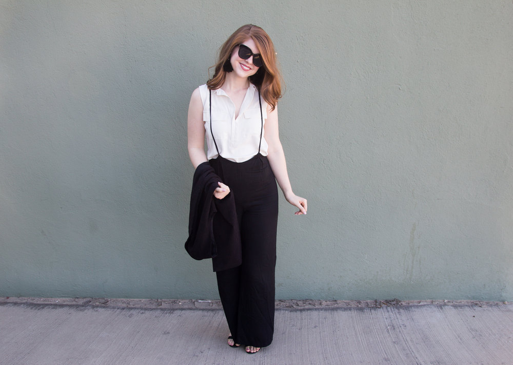 ways to wear wide legged suspender pants, how to style wide legged suspender pants, lucca couture, baublebar feather parisian earrings, american eagle purrrty sunglasses, blank ankle strap sandal, lawless soft matte lipstick in brad, the art of versatility, loft shell, long lined vest