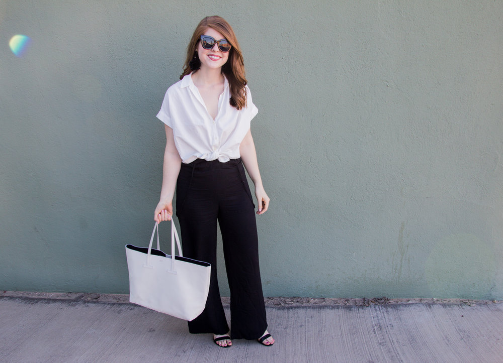 ways to wear wide legged suspender pants, how to style wide legged suspender pants, lucca couture, baublebar feather parisian earrings, american eagle purrrty sunglasses, blank ankle strap sandal, lawless soft matte lipstick in brad, the art of versatility, madewell central shirt in white, tom ford white tote