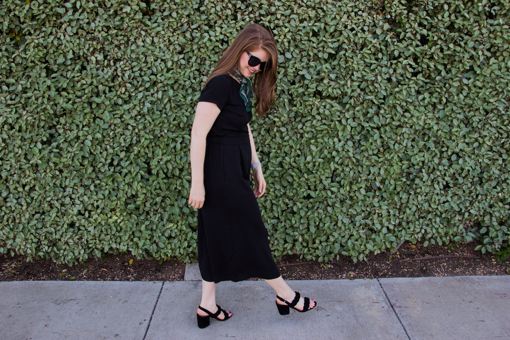 j crew drapey wrap-back jumpsuit, rebecca minkoff candace block heel sandals, madewell silk bandana, american eagle purrrty sunglasses, lawless soft matte lipstick in brad, j. crew factory scalloped cami top, black jumpsuit for work
