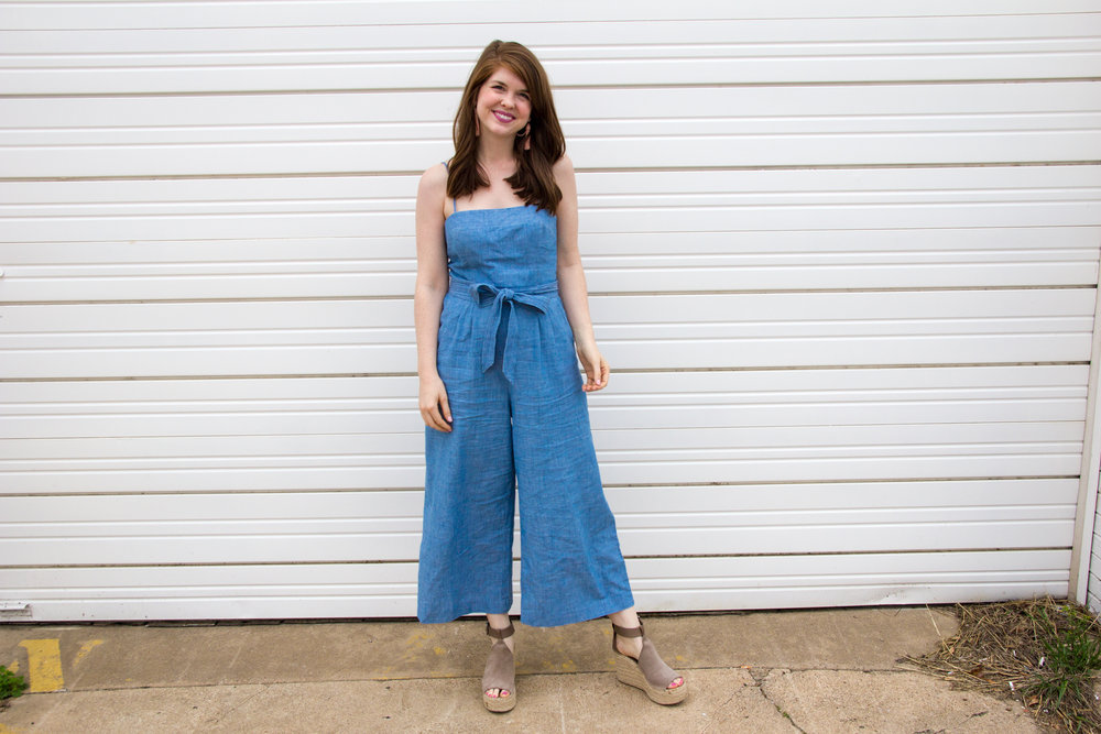 j. crew chambray jumpsuit, lawless soft matte liquid lipstick in jake, baublebar pink pinata tassel earrings, marc fisher annie wedges, jumpsuits for work or play, good fitting jumpsuits