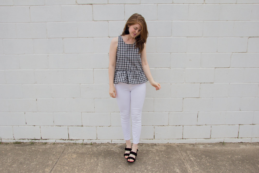 comfortable block heel sandals, rebecca minkoff candace block heel sandals, lawless soft matte lipstick, jack x bb dakota pax top, black and white gingham top, j crew toothpick white jeans, baublebar parisian feather earrings, braided block heel sandals