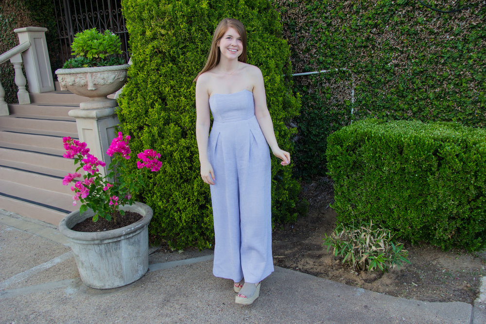 endless rose strapless jumpsuit in lilac, marc fisher annie wedges, giving credit where credit is due, lments of style, ellespann, dallas blogger, blogger thoughts