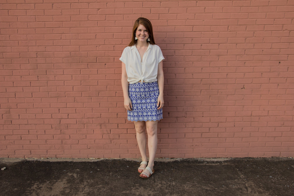 the art of versatility, embroidered skirt 3 ways, skirts long enough for work, blue and white skirt, how to style an embroidered skirt, madewell central shirt, kendra scott denise earrings, dolce vita pacer slides