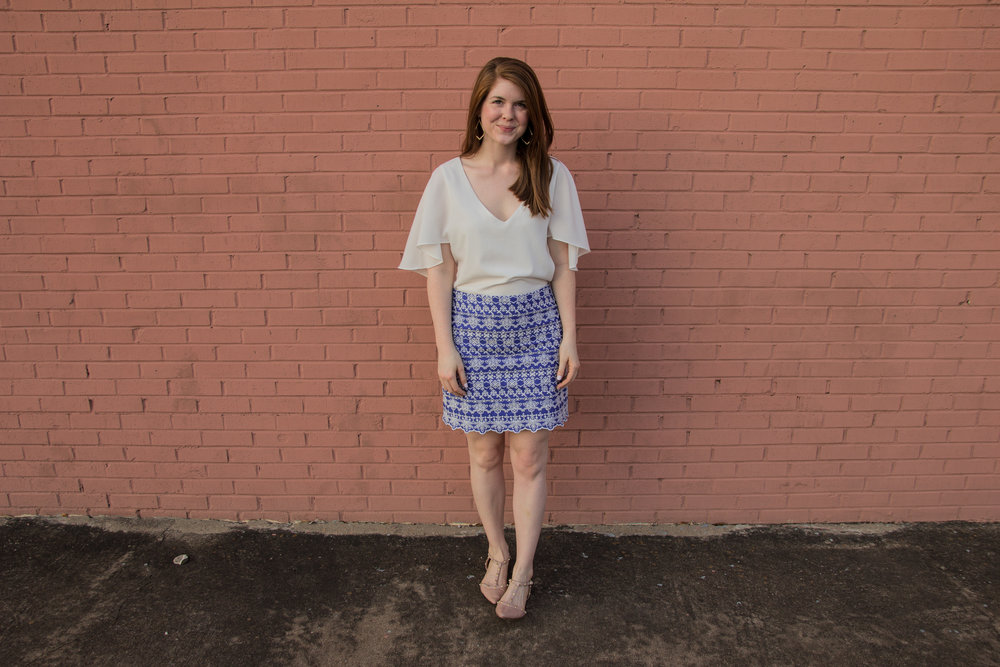 the art of versatility, embroidered skirt 3 ways, skirts long enough for work, blue and white skirt, how to style an embroidered skirt, gentle fawn white blouse, nude pointed flats, kendra scott sophee earrings