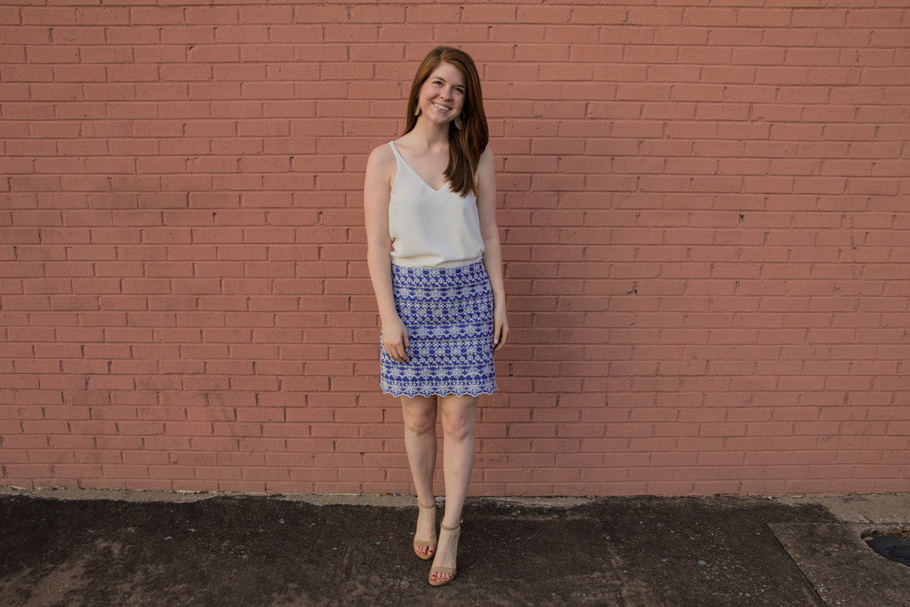 the art of versatility, embroidered skirt 3 ways, skirts long enough for work, blue and white skirt, how to style an embroidered skirt, basic white cami, kendra scott diane earrings, sam edelman ariella sandals