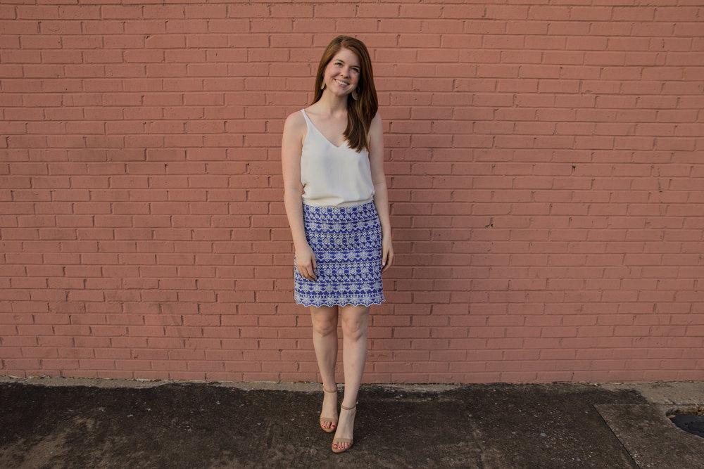 the art of versatility, embroidered skirt 3 ways, skirts long enough for work, blue and white skirt, how to style an embroidered skirt, basic white cami, kendra scott diane earrings, sam edelman ariella sandals