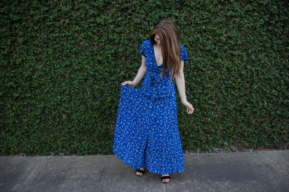 amuse society summer safari dress in blue coast, rebecca minkoff candace block heel, baublebar parisian feather earrings, lawless soft matte lipstick in brad, memorial day weekend sales, blue floral wrap maxi dress