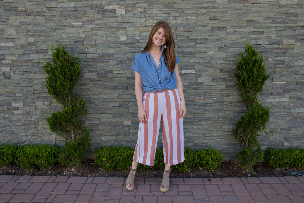 madewell huston pull-on pants in evelyn stripe, kendra scott diane earrings, madewell central shirt in roberta indigo, marc fisher annie wedgs, the art of versatility, how to style striped crop pant