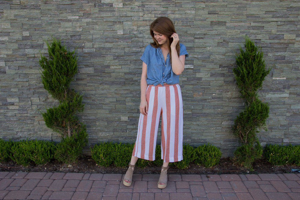 madewell huston pull-on pants in evelyn stripe, kendra scott diane earrings, madewell central shirt in roberta indigo, marc fisher annie wedgs, the art of versatility, how to style striped crop pants