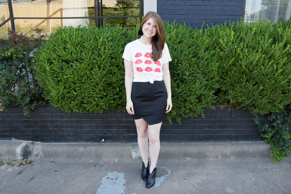 by the way satin miniskirt, baublebar parisian feather earrings, junk food donald robertson lips tee, chinese laundry kelso booties, the art of versatility: black miniskirt 3 ways