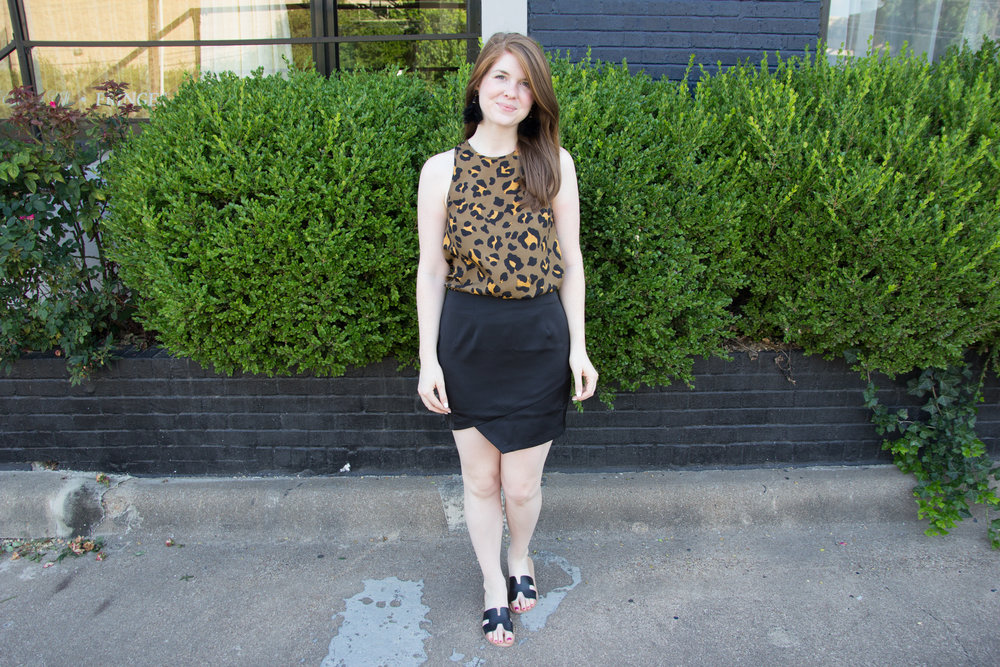by the way satin miniskirt, baublebar parisian feather earrings, show me your mumu leopard tank, chinese laundry kelso booties, the art of versatility: black miniskirt 3 ways
