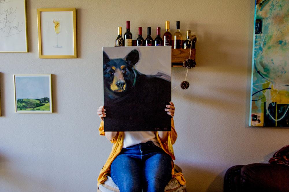 bear portrait, pet portrait, minted commissioned original art review, jinhee park, home decor inspo, lments of style, ellespann