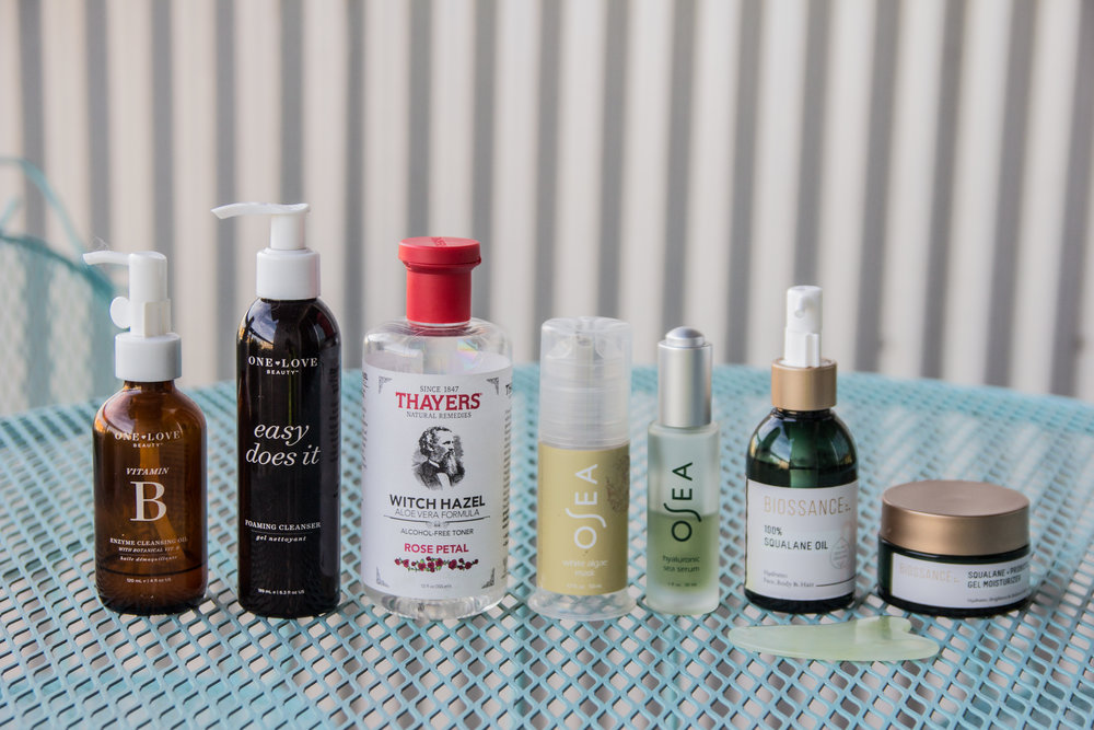 summer skincare routine, cruelty-free and nontoxic beauty, one love organics, osea malibu, biossance, juice beauty, thayer's witch hazel rose petal toner, mad hippie, how to help your skin in the summer