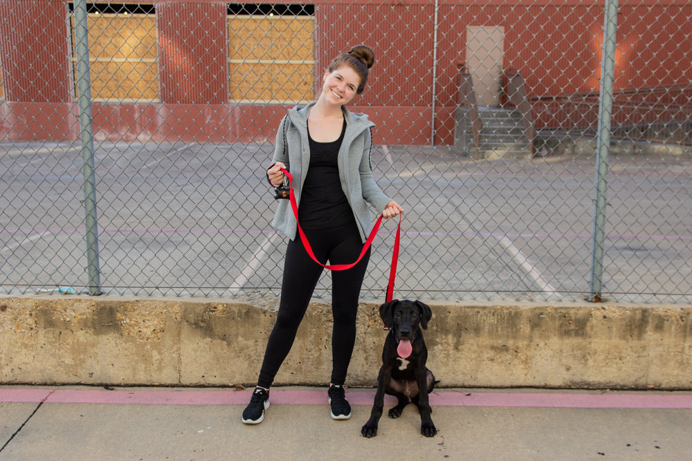 my love-hate relationship with fitness trackers, great dane puppy, sweaty betty cross train hoodie jacket, zella mira tank, zella live in light crop leggings, nike tennis shoes, nordstrom anniversary sale, fitness nsale