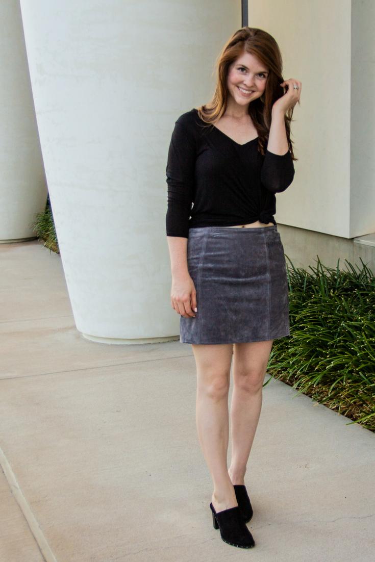 nordstrom anniversary sale best of workwear, blanknyc skirt, rebecca minkoff galyn mules, kendra scott diane earrings