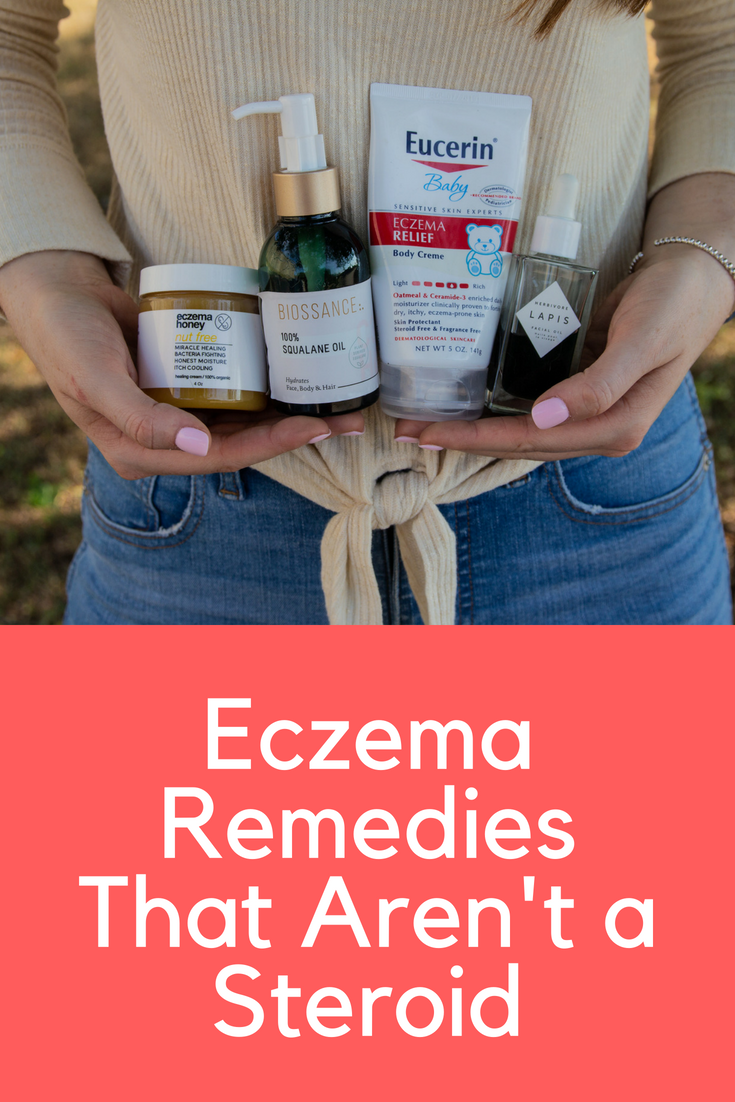 Eczema Remedies That Aren't a Steroid, eczema soothers, herbivore botanicals lapis facial oil,  eucerin baby eczema relief, biossance 100% squalane oil,  eczema honey, rebecca minkoff galyn mule, madewell light wash denim, abercrombie tie top, natalie wood designs beaded cuff bracelet