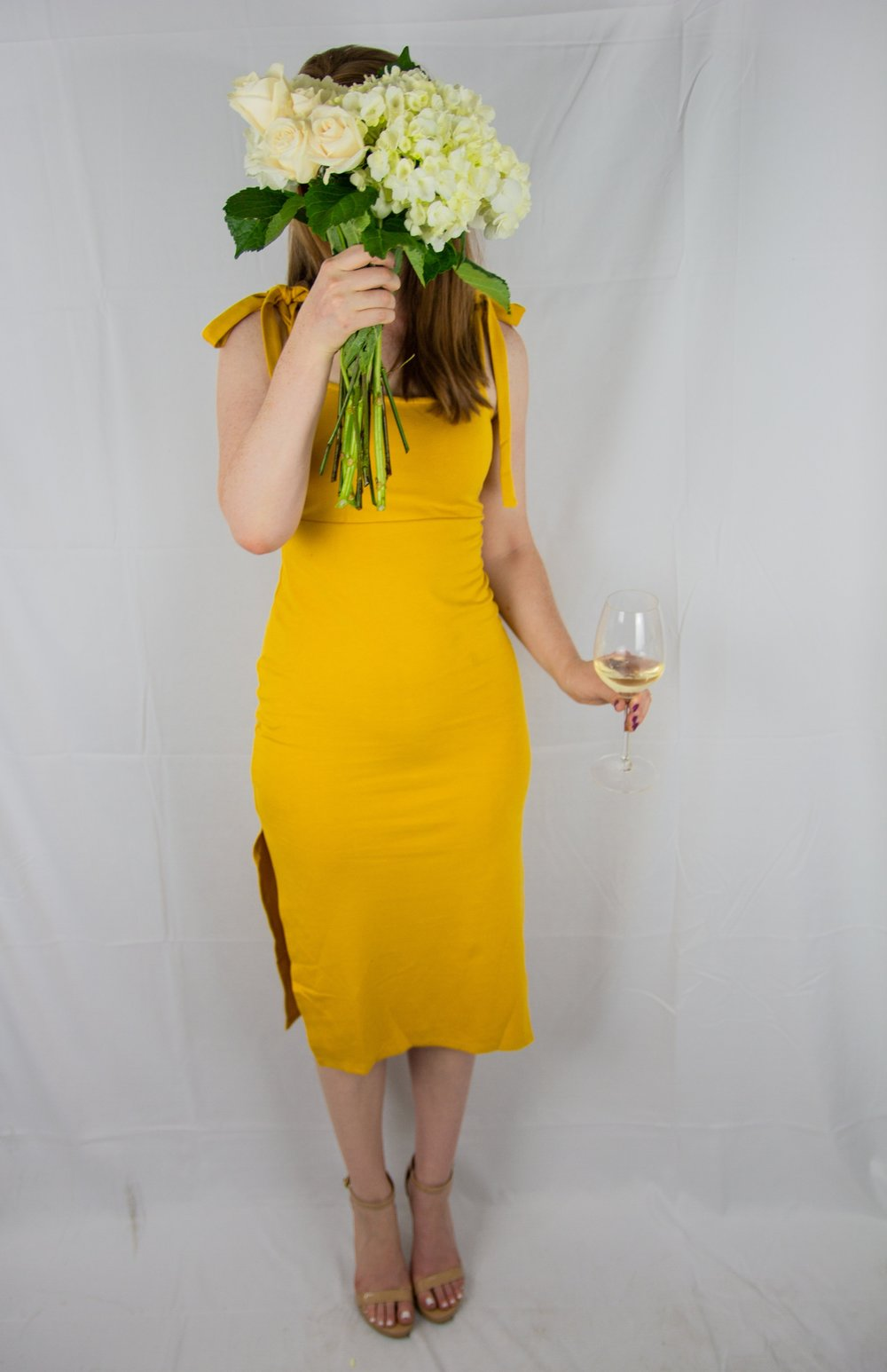 privacy please athens midi dress, nude ankle strap sandals, trader joes flowers, riedel wine glass, birthday, turning 27, ellespann, lments of style, dallas blogger