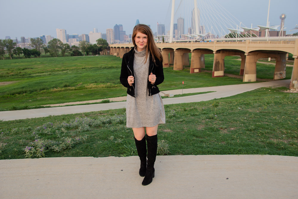 the art of versatility, easy chic, lments of style, ellespann, fall style, fall outfit inspo, aerie plush turtleneck dress, blanknyc suede moto jacket, black suede over the knee boots, dallas blogger