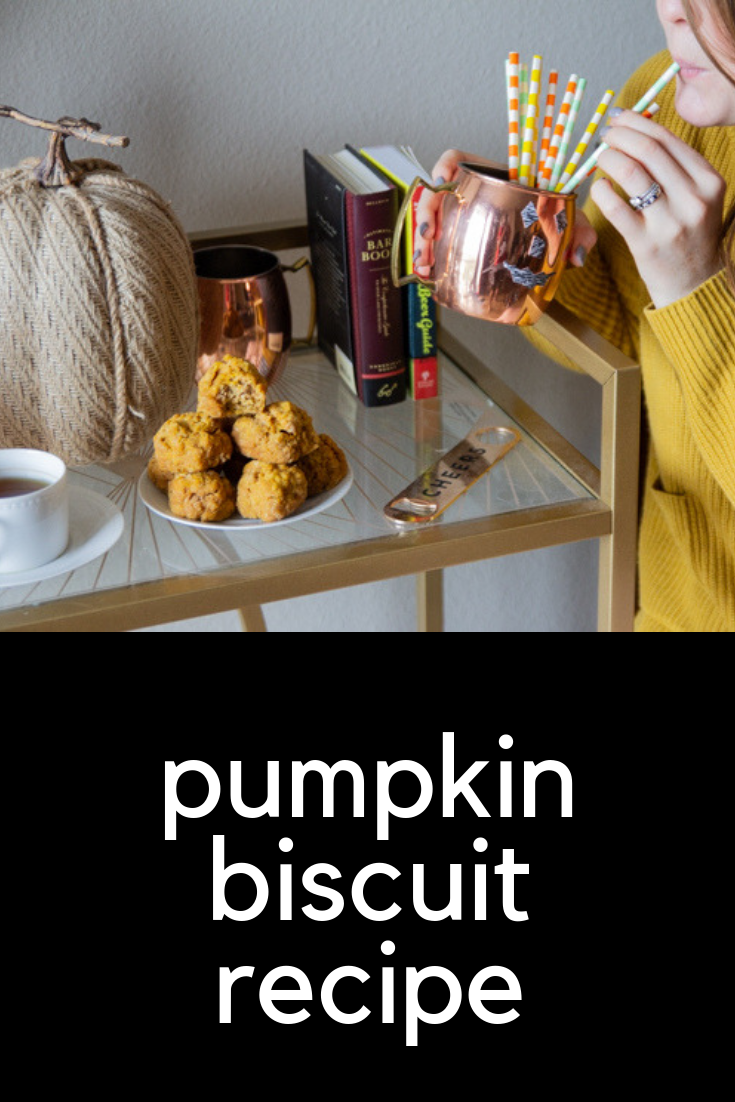afternoon tea and pumpkin biscuits, pumpkin biscuit recipe, tazo zen green tea, fall party recipes, easy party recipes, finger food, gold bar cart, fall decorations, madewell patch pocket sweater, agolde parker shorts