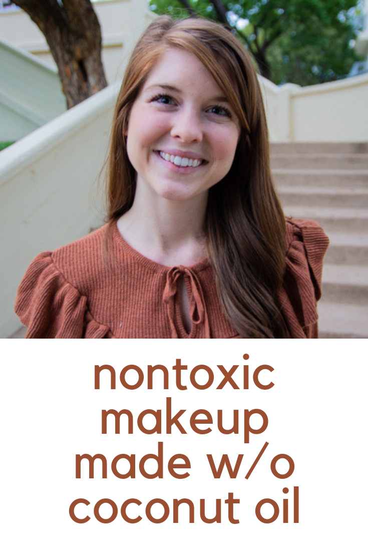 nontoxic makeup made without Coconut oil, cruelty-free makeup, makeup that won't clog your pours, madewell button front denim skirt, rebecca minkoff galyn mules, madewell ruffle sweater