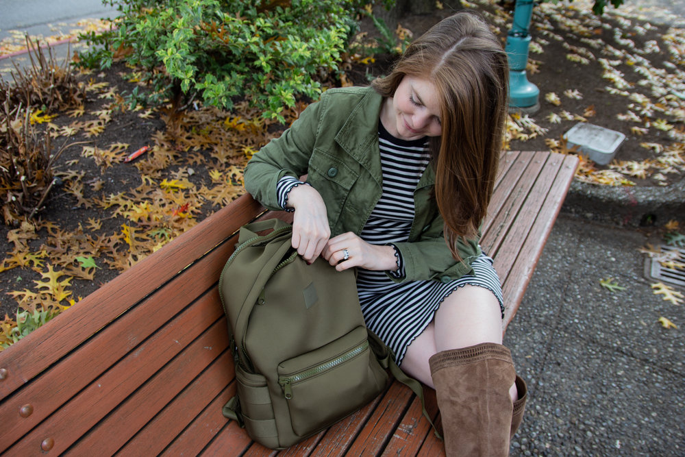 backpacks are for adults too, dagne dover, good backpack brands, what backpack to buy, madewell olive jacket, vince camuto over the knee boots, abercrombie striped bodycon, kirkland, washington, seattle